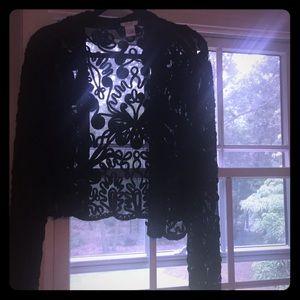 Cache black beaded short jacket